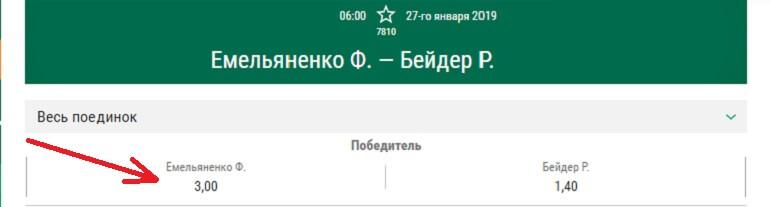 Коэффициент на победу Емельяненко 3,0
