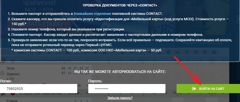 Кнопка входа на сайт
