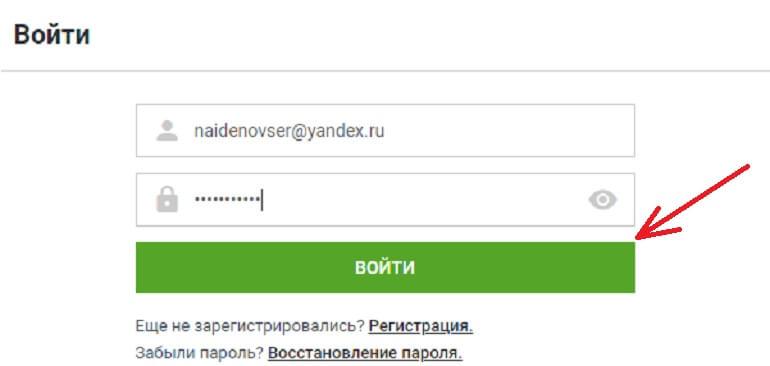 Кнопка входа в аккаунт