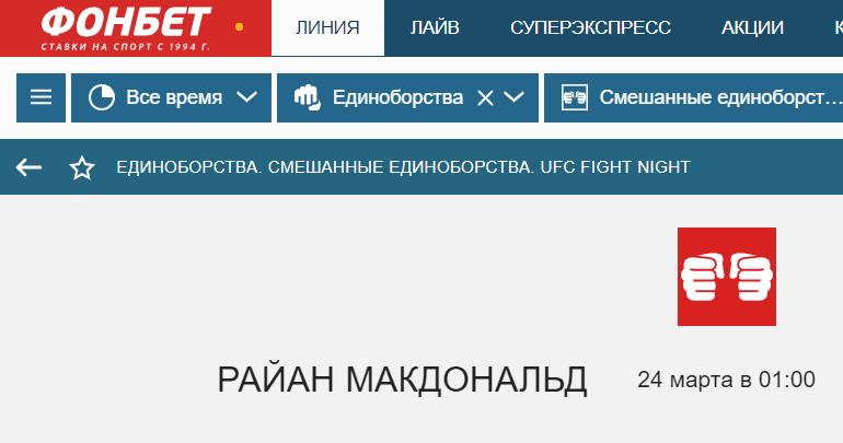 """Ставки на ММА в букмекерской конторе """"Фонбет"""""""