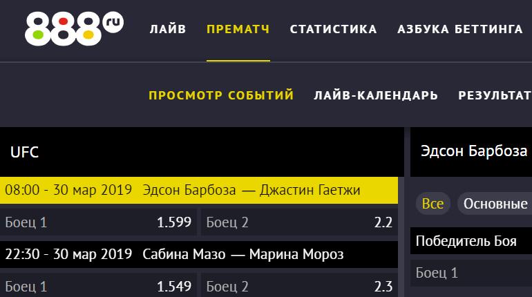 """Ставки на ММА в БК """"888.ru"""""""