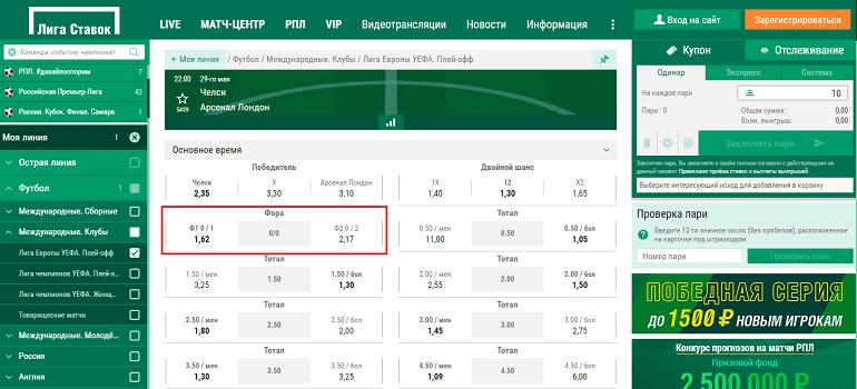 """Фора 2 0 в БК """"Лига Ставок"""""""