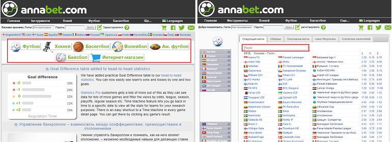 Разделы сайта Аnnabet.com