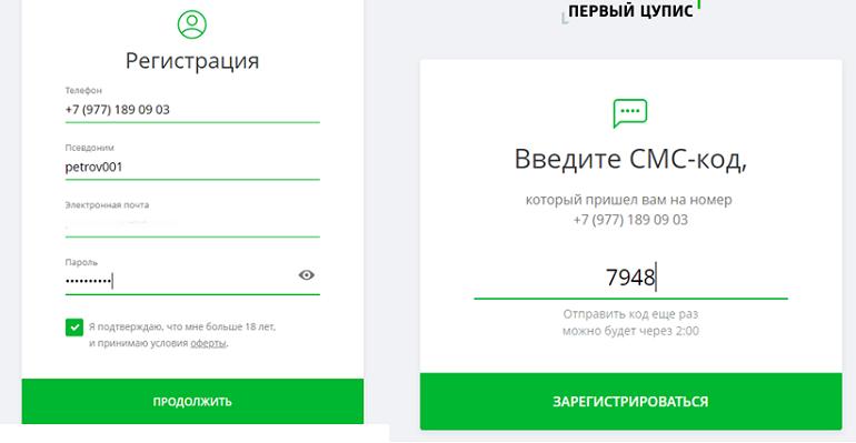 Регистрация с ЦУПИС