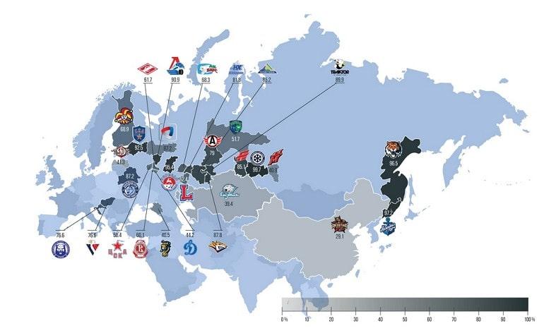 Карта с командами
