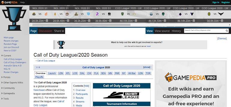 Сайт с данными от турнирах